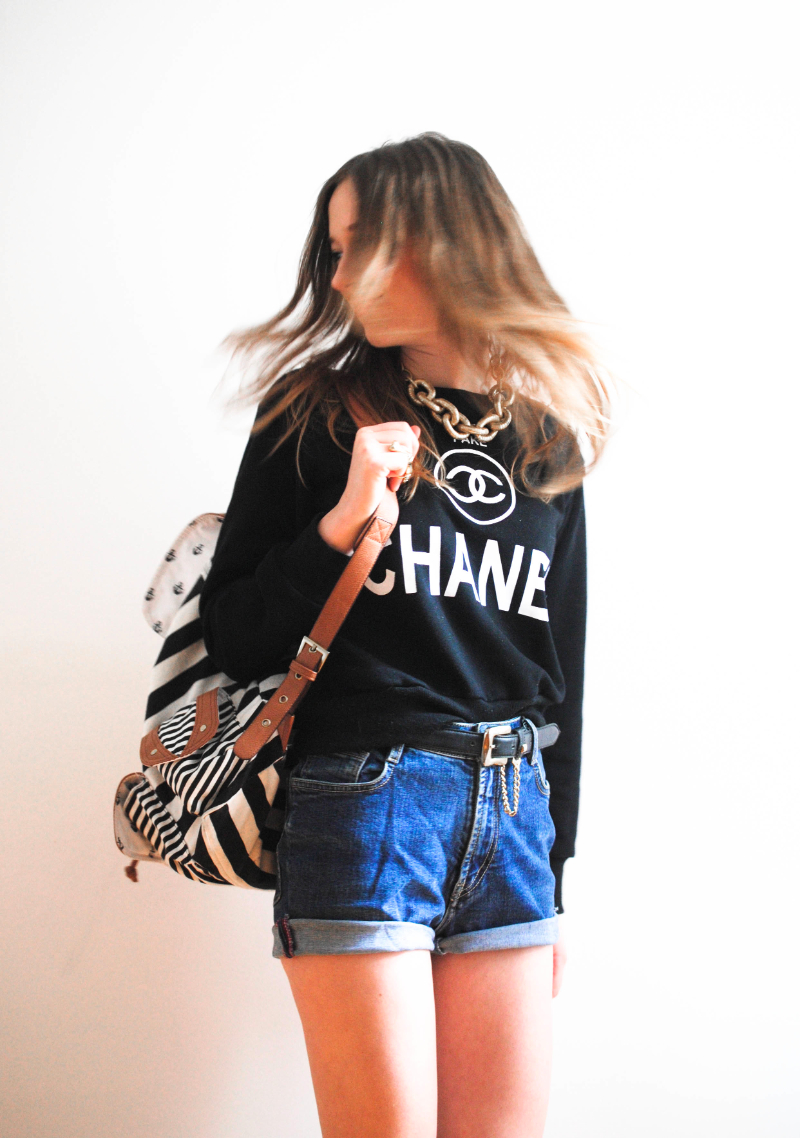 black chanel sweater