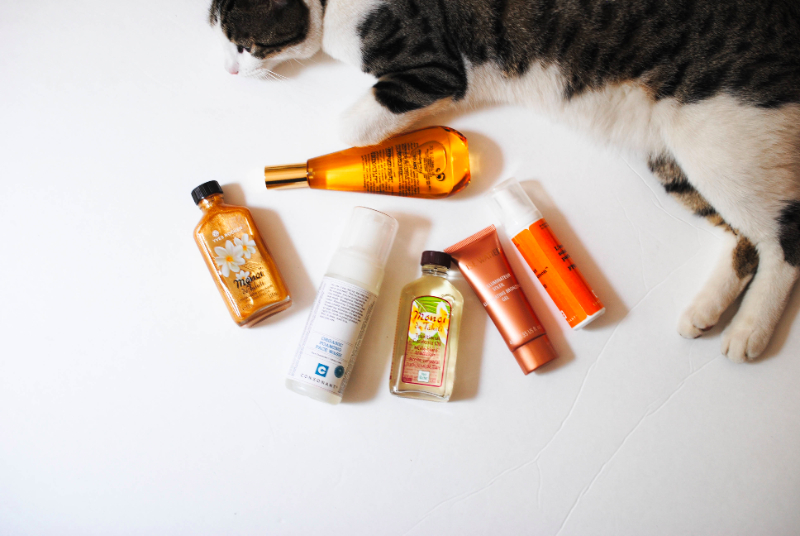 beauty products and a cat