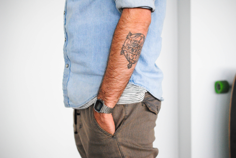 men's style. Watch and Tattoo