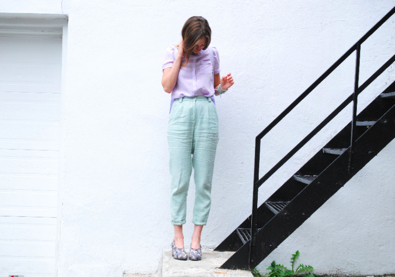 Lilac and mint outfit dentelle+Fleurs