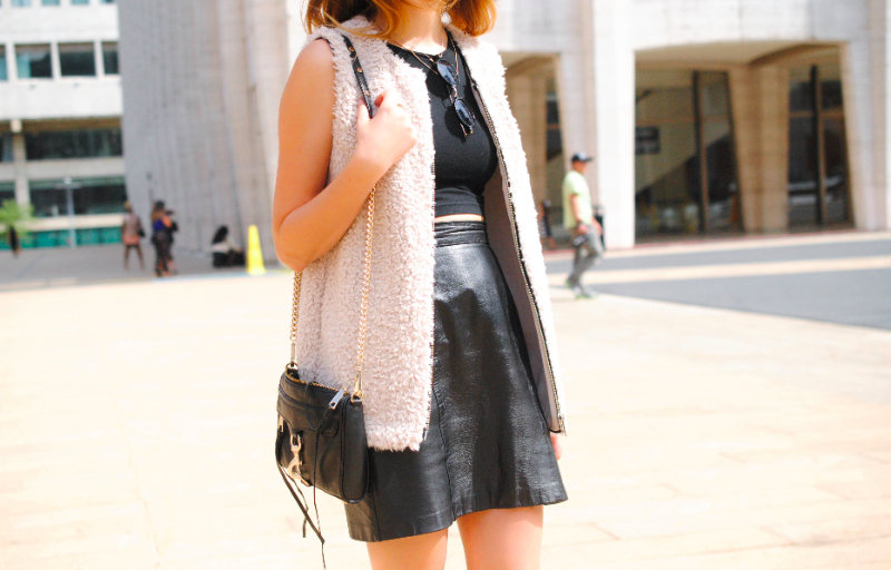 leather skirt and vest for #nyfw #streetstyle