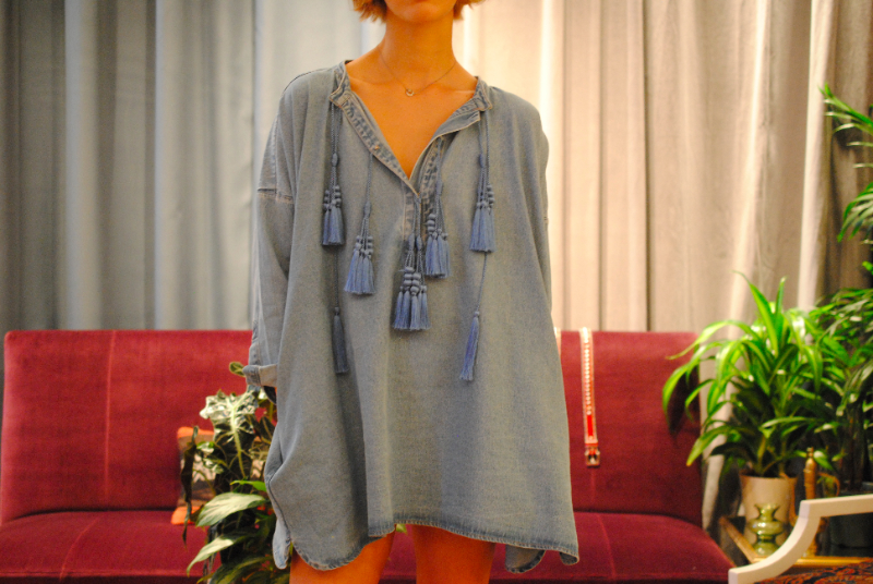 H&M tunic on model at the showroom ss14