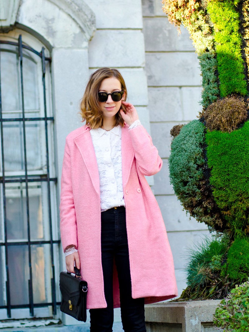 outfit post pink coat