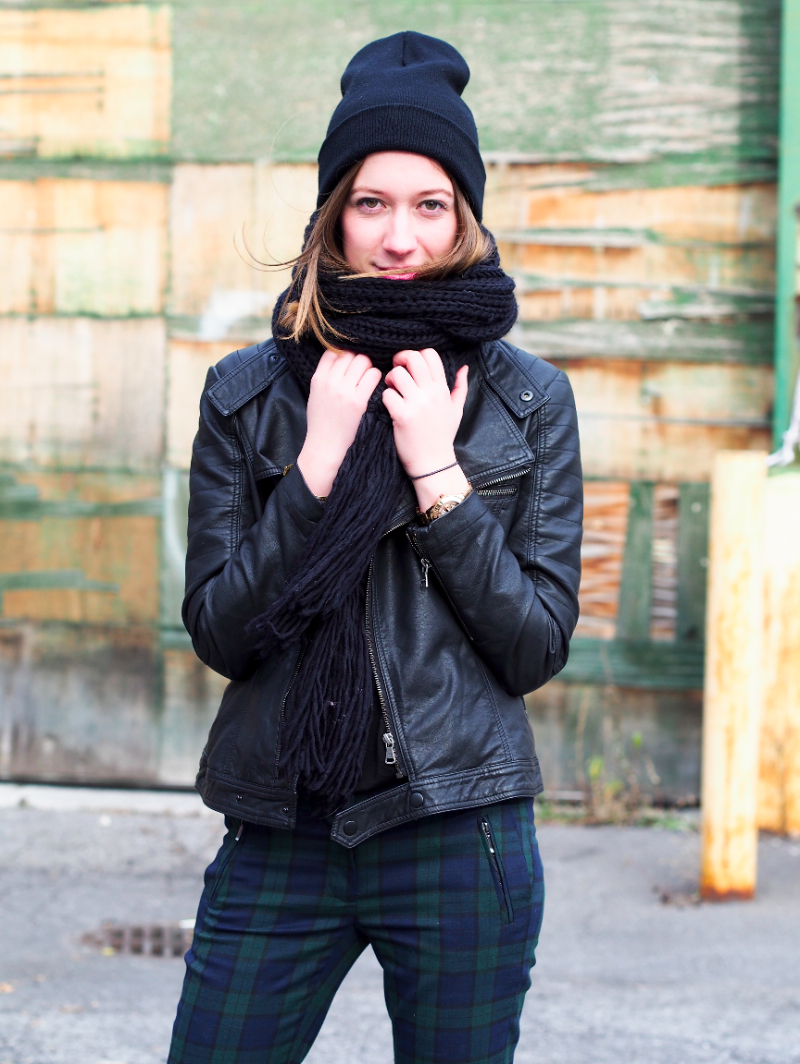leather jacket and plaid pants outfit