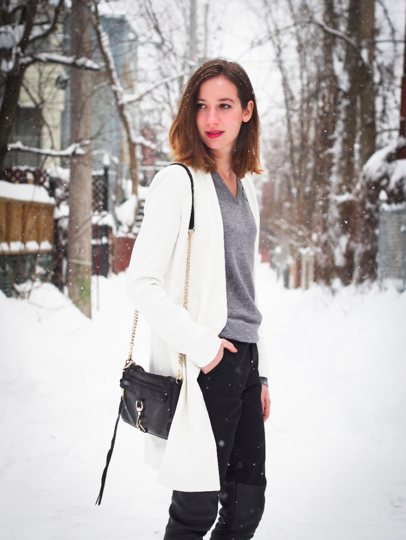 rebecca minkoff mini mac bag and white choies coat outfit post