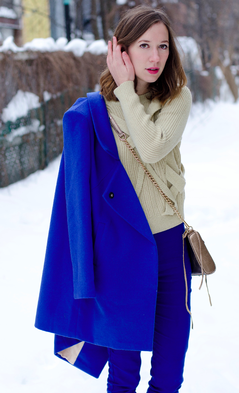 Oasap blue coat, choies sweater outfit winter