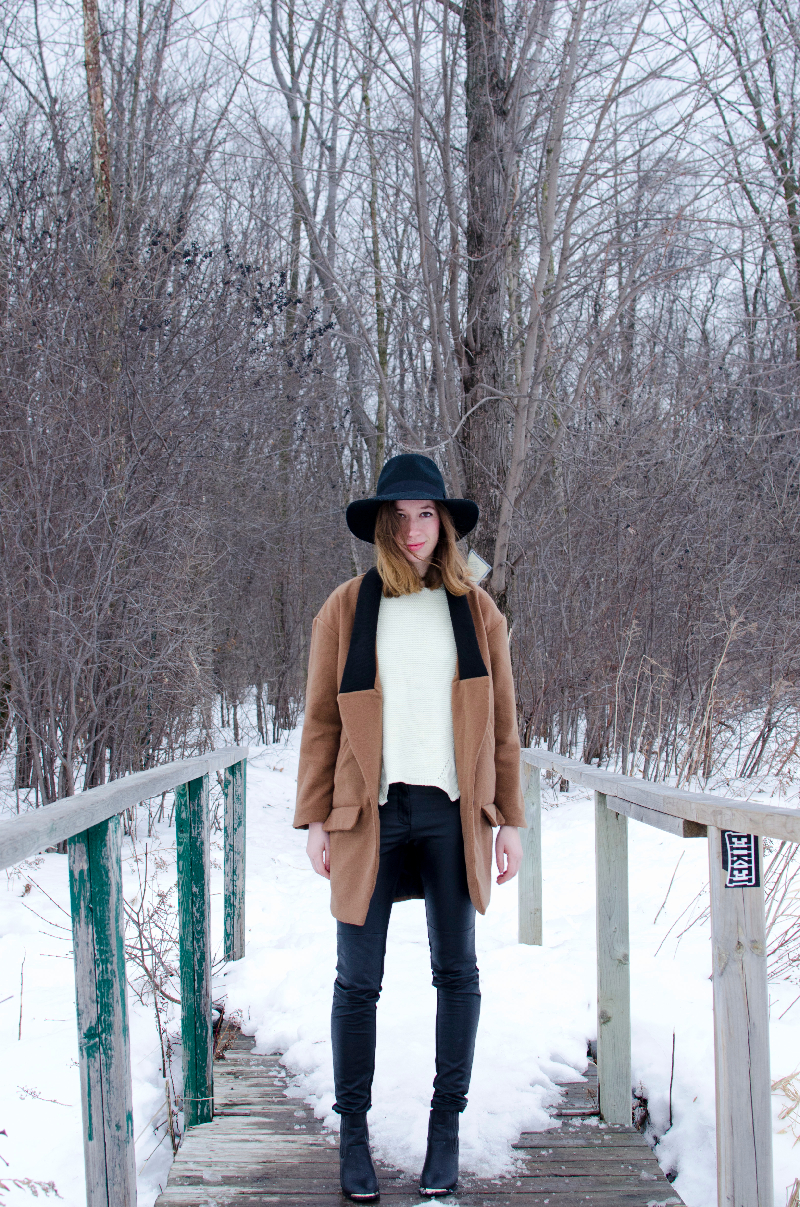 winter outfit post with hat