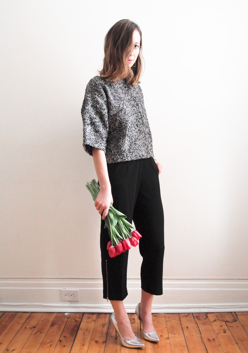 Valentine's day outfit post red tulips