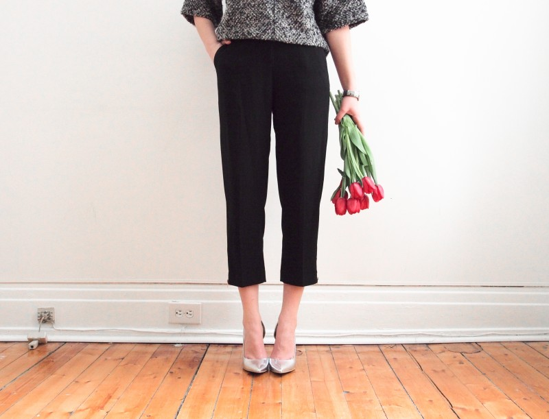 Call it Spring heels Aritzia trousers red tulips outfit