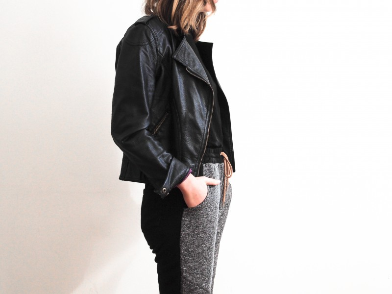 Joggings with leather jacket