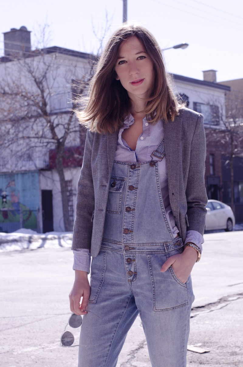 Denim overall in Spring- Layering with a blazer