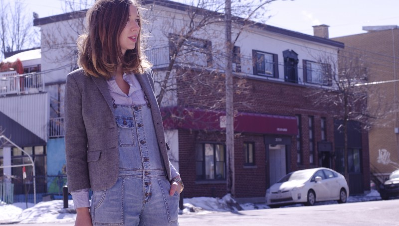 Denim overall for spring- Layering with a blazer