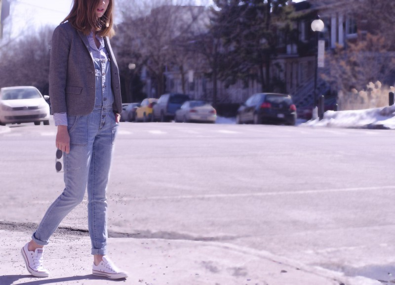 Denim overalls layering for spring