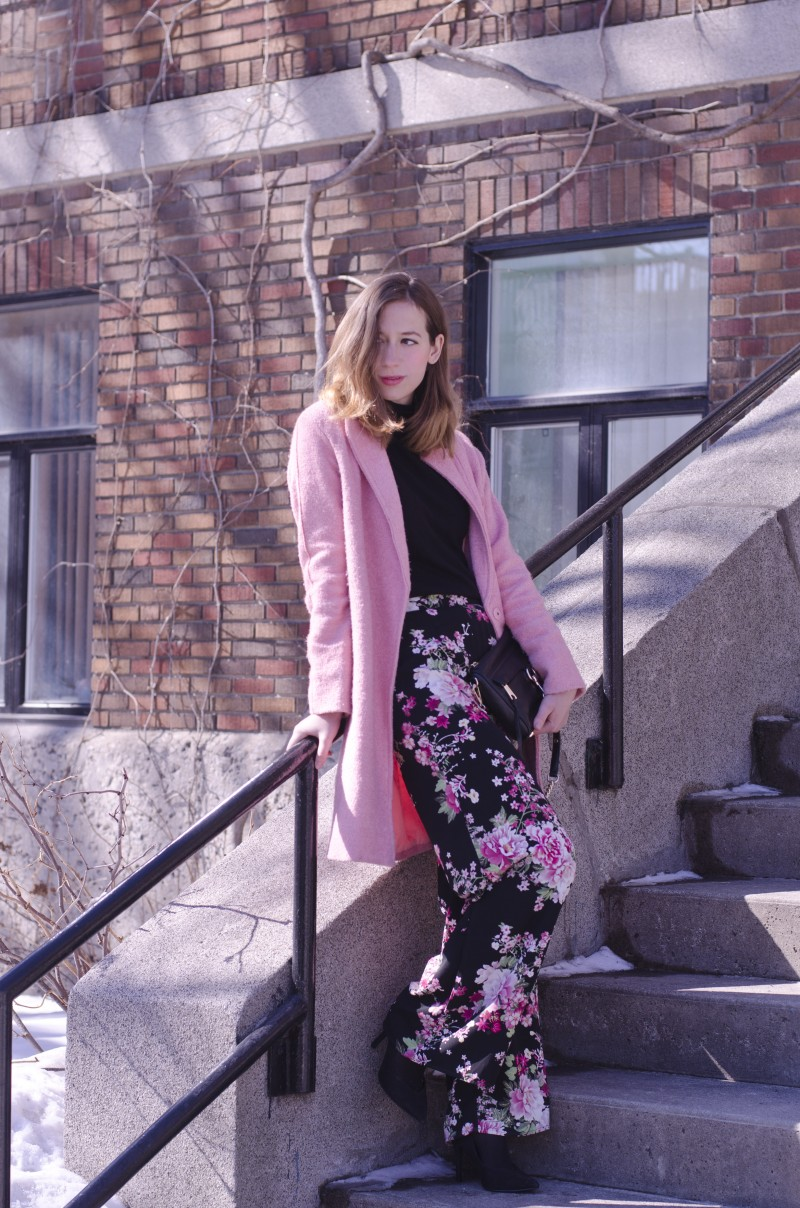 Pink flower pants and Pink coat. Outfit for Spring.