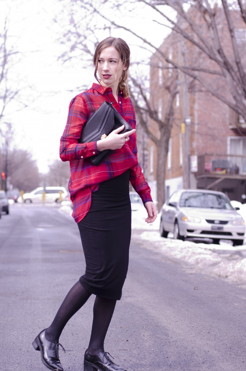 424 fifth skirt and plaid blouse