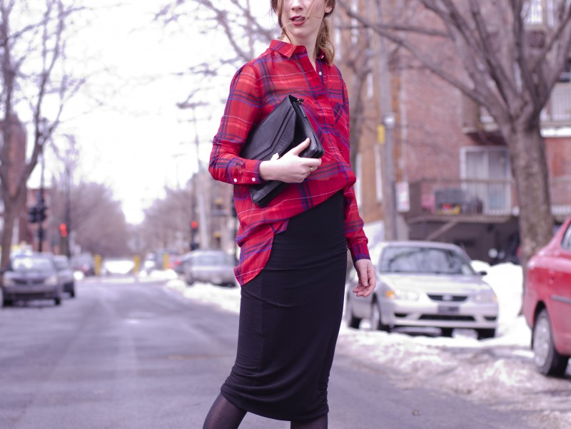 424 fifth outfit post plaid shirt pencil skirt