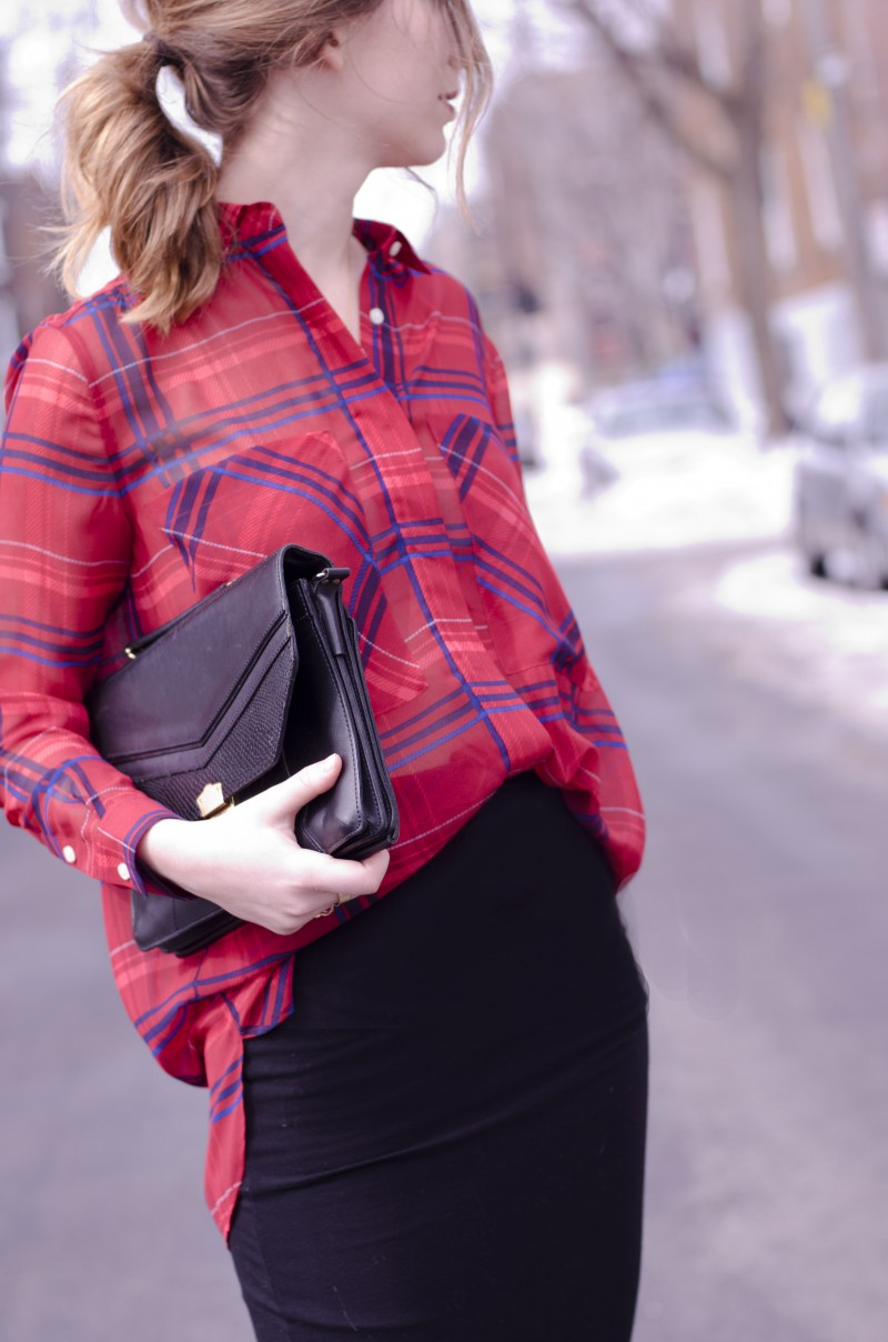 tuck in plaid shirt in pencil skirt
