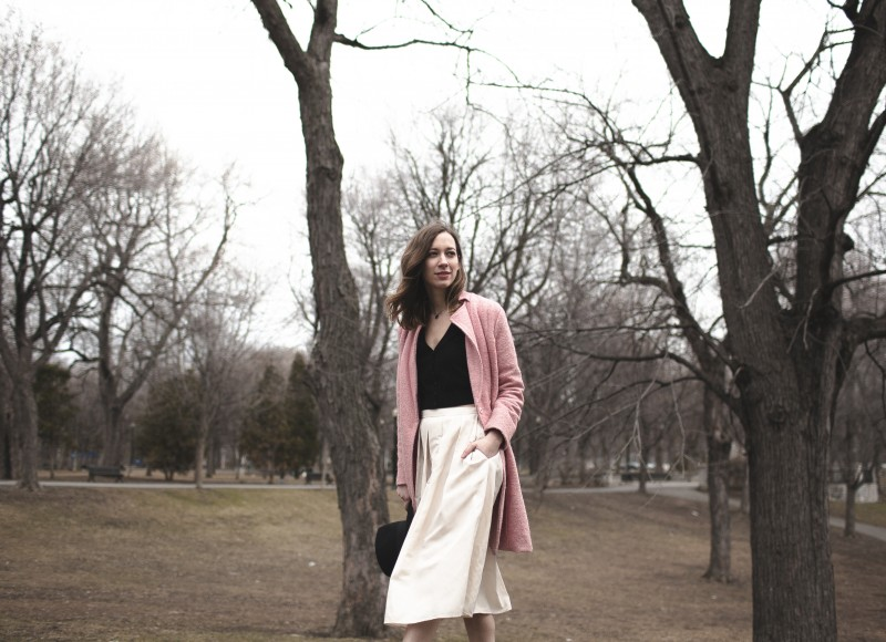 Outfit post 424 Fifth skirt and cardigan. Oasap pink coat.