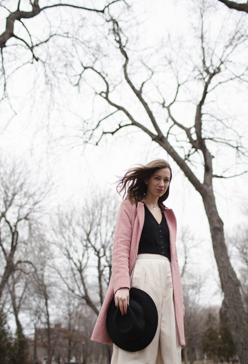 Pink Coat and Pink midi skirt outfit