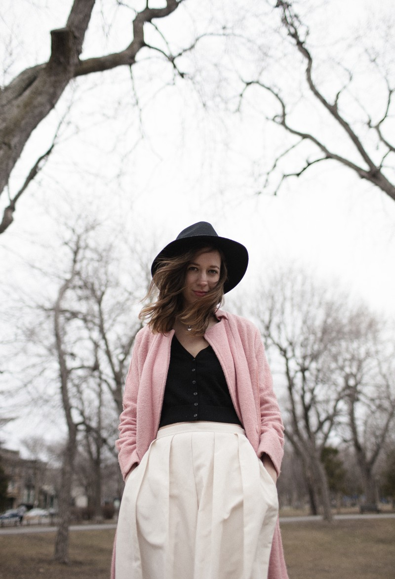 424 Fifth Midi skirt and pink coat
