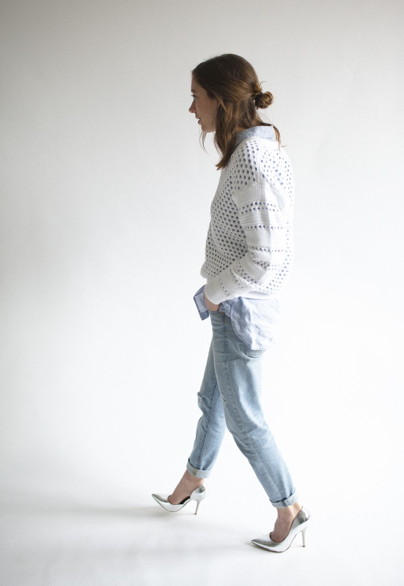 424 fifth sweater and jean shirt. Gap jeans. Call it Spring heels
