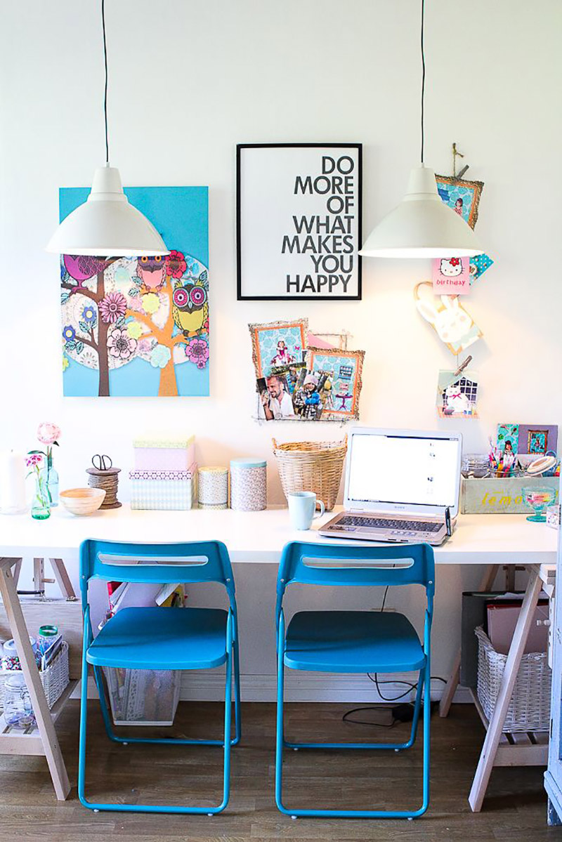 Blue and white workspace