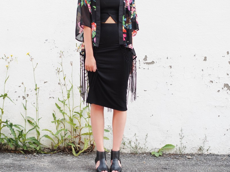The take on the kimono. With a pencil skirt