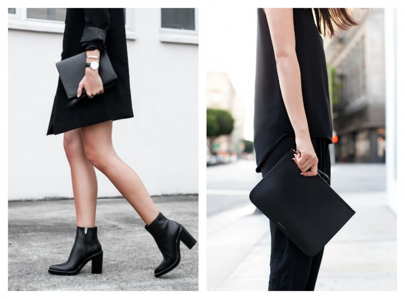 Mini leather bag with black outfit