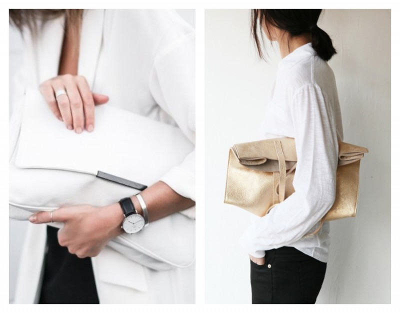 Leather bag with white outfit