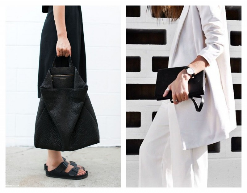 Leather bag. Minimalism outfit