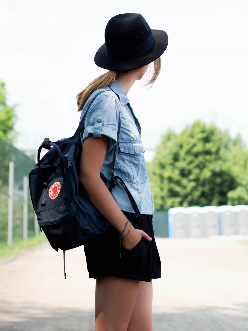 Wearing sanctuary and fjall raven kanken bag at Osheaga