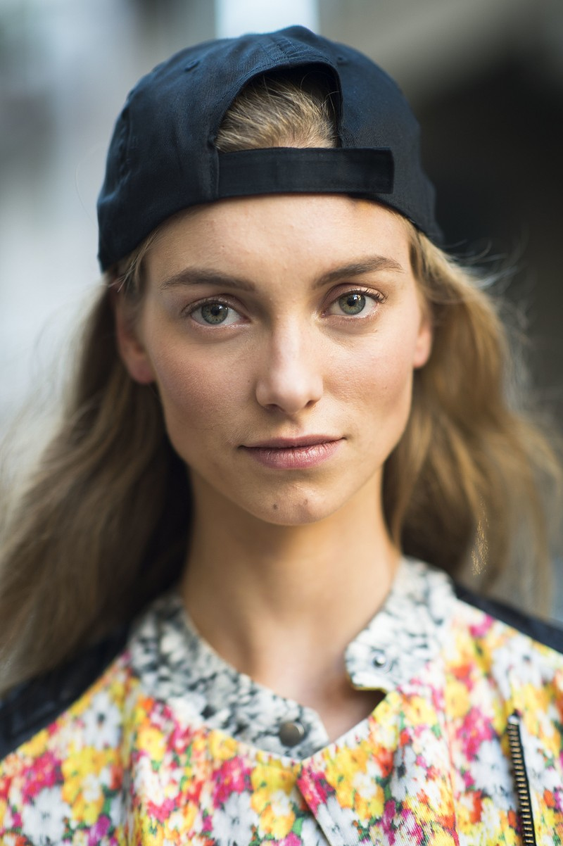 black baseball cap on model