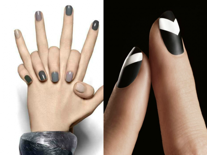 black white and grey nails