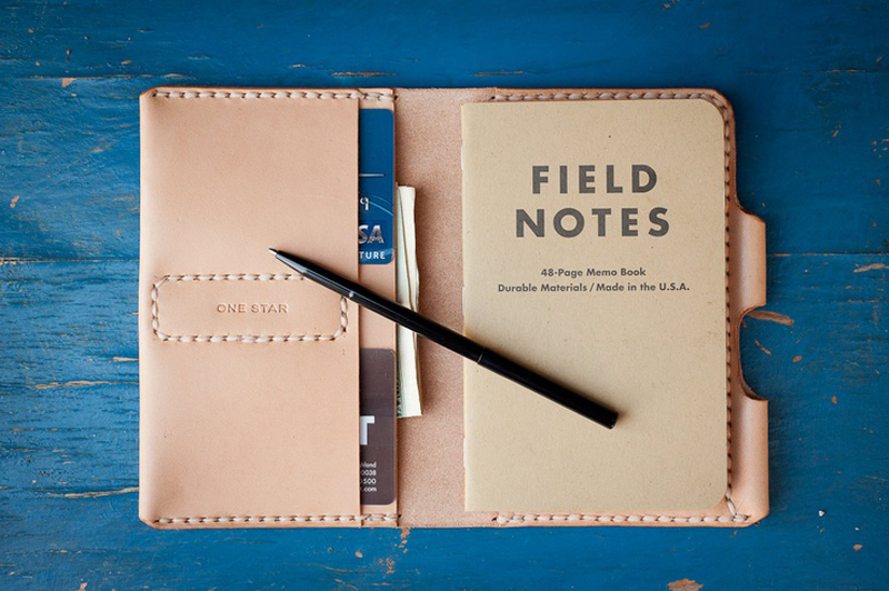 Field notes book to takes notes during road trip