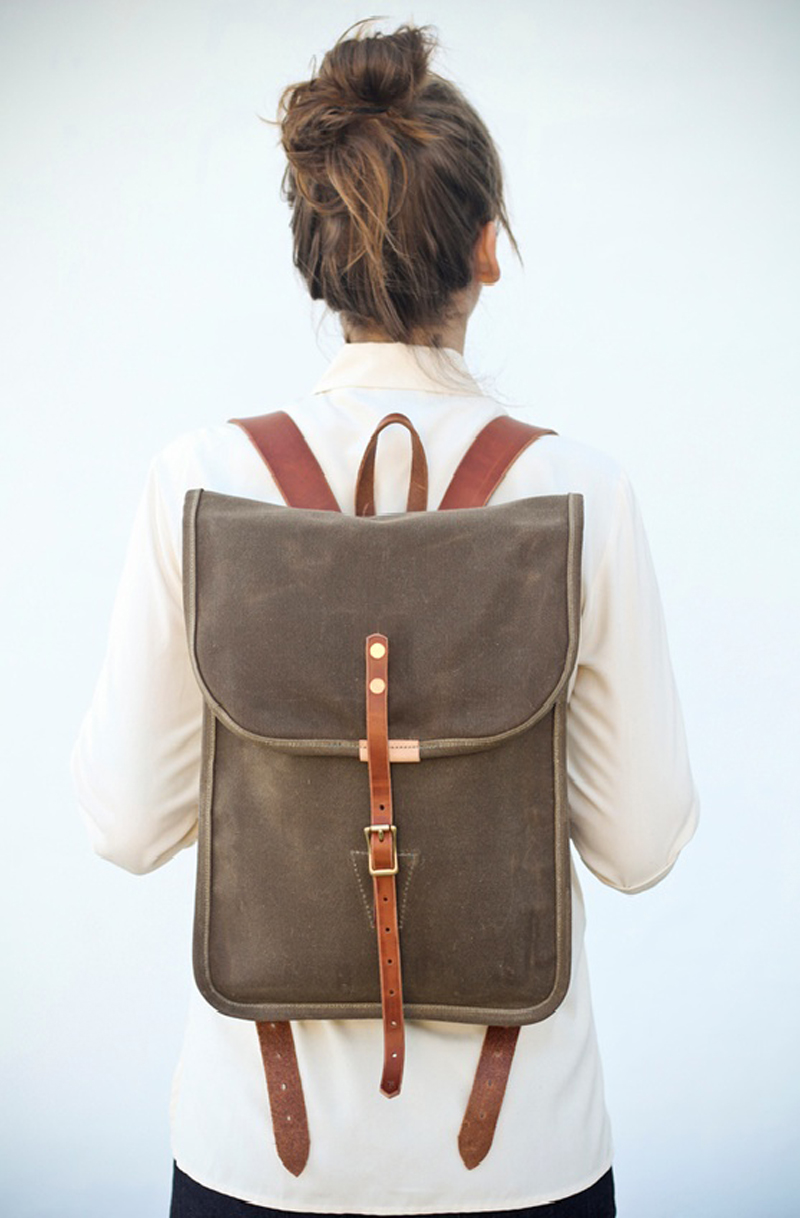 leather backpack with bun