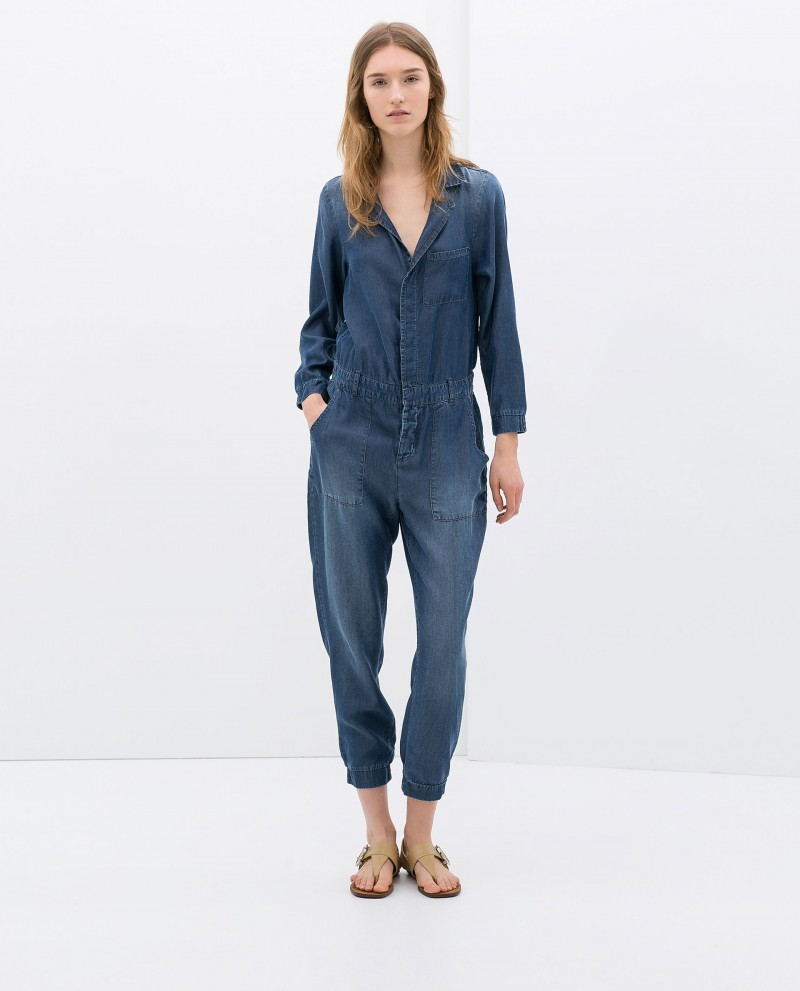 zara one-piece in jeans