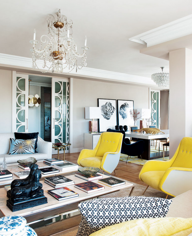 A pop of yellow into a living room