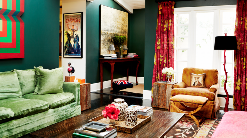 Dark green for a luxurious living room
