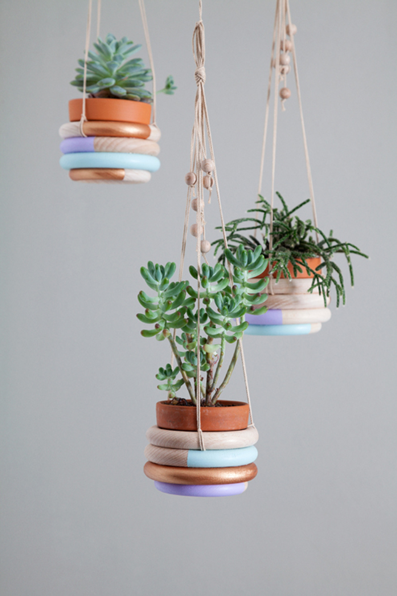 DIY colored plant hangers