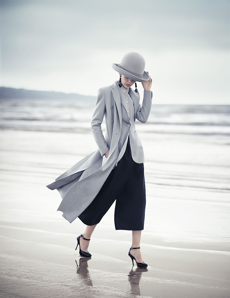 walk on the beach in gray layers