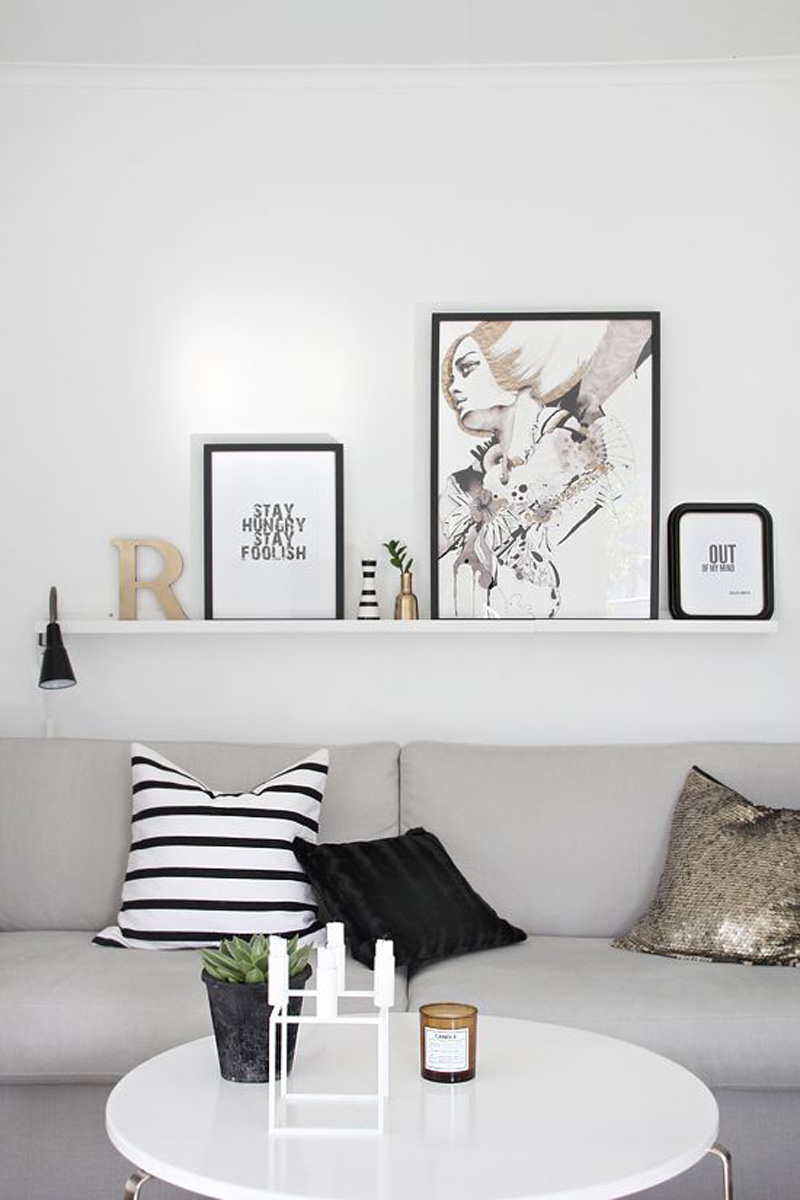 Frame on shelf instead of on the walls