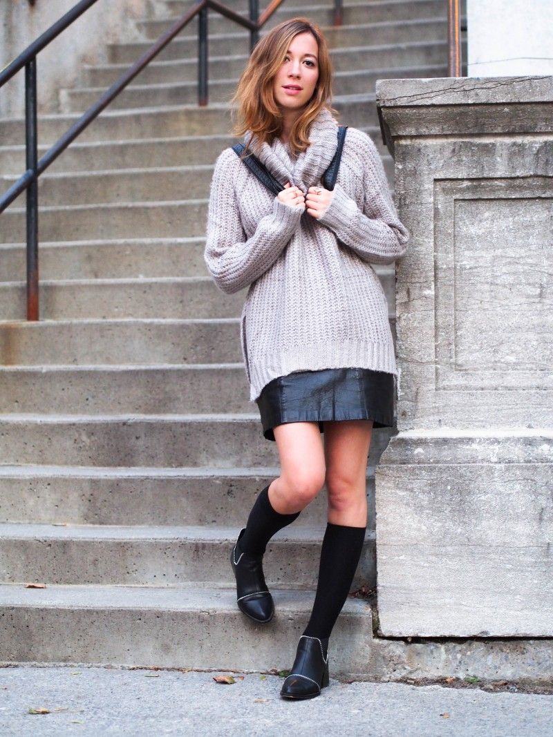 Fall outfit with Knit, leather skirt and leather boots on dentelleetfleurs.com