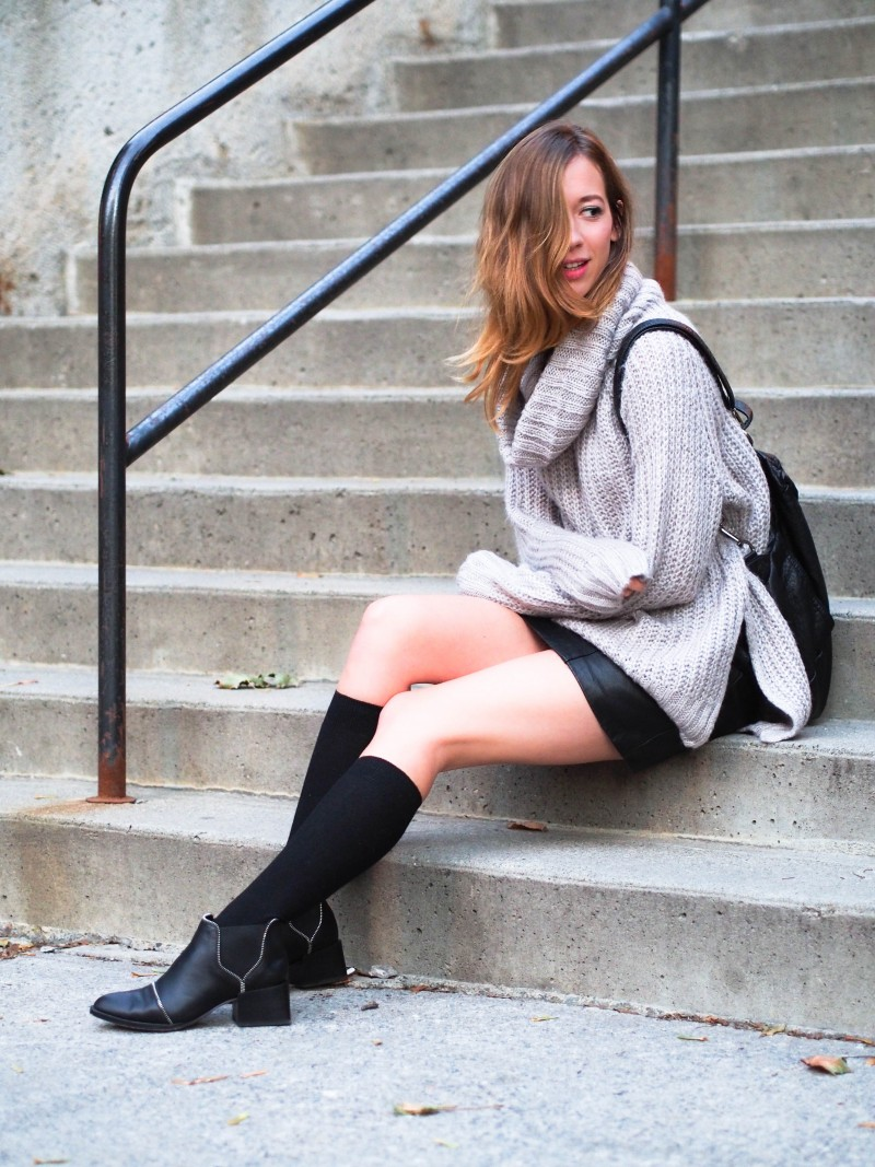 High socks and turtleneck knit for Fall.