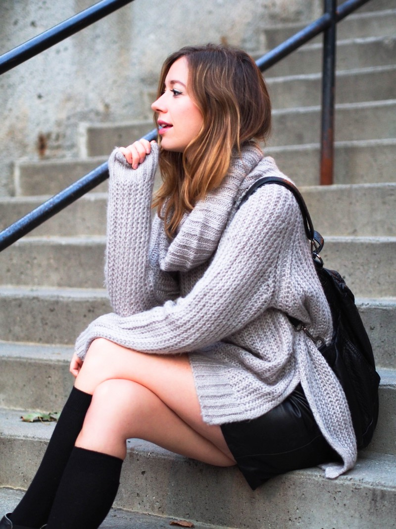 Casual fall outfit with leather, backpack and knit by Gabrielle Lacasse