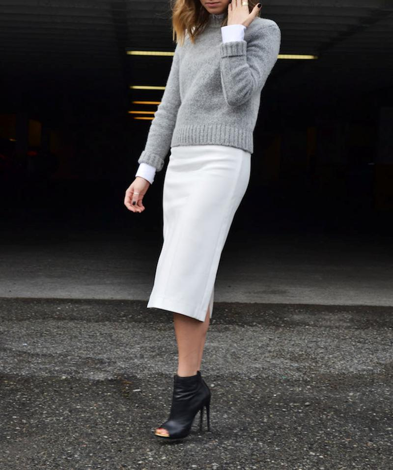 classy look for fall sweater and a midi skirt