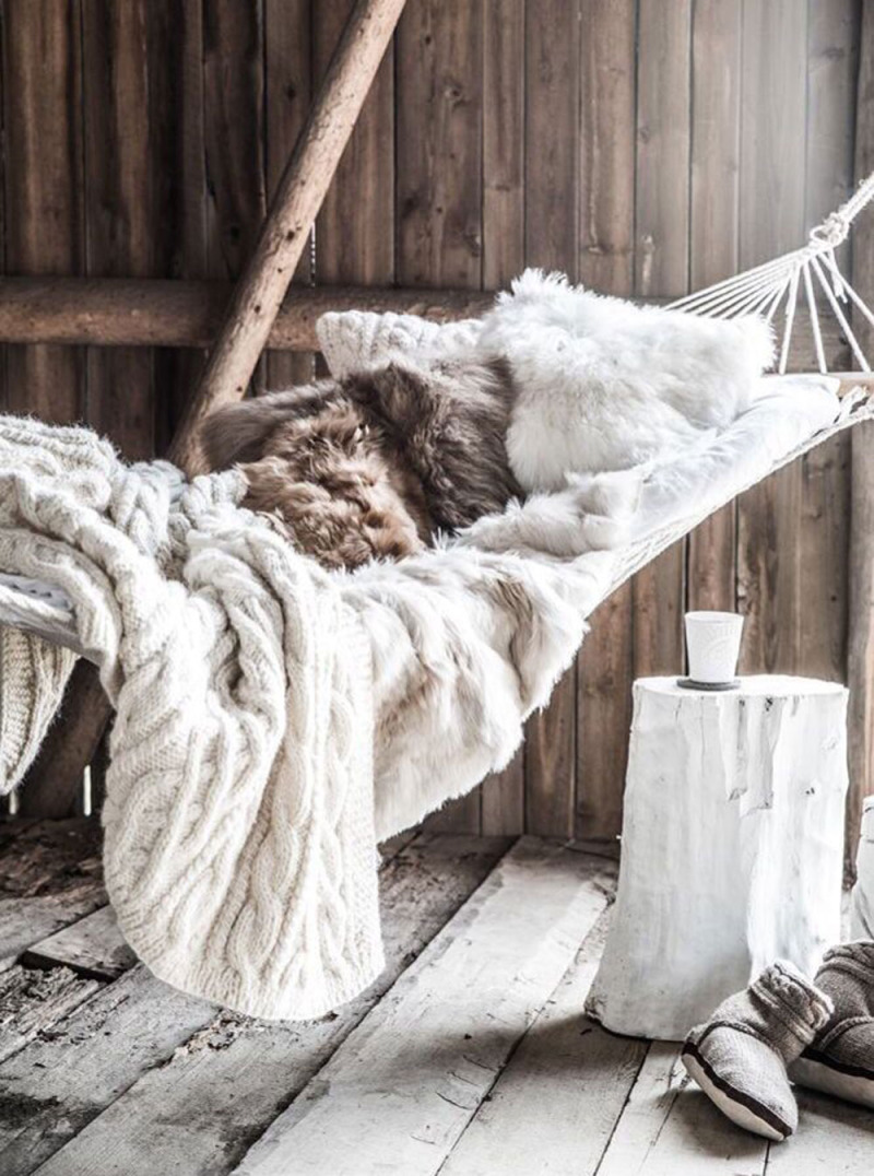 cozy fall decor fur raw wood