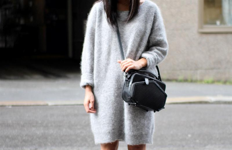 grey fluffy sweater fall look