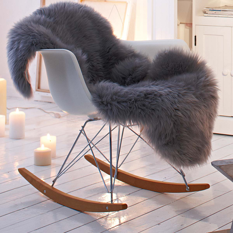 grey fur cozy on a chair
