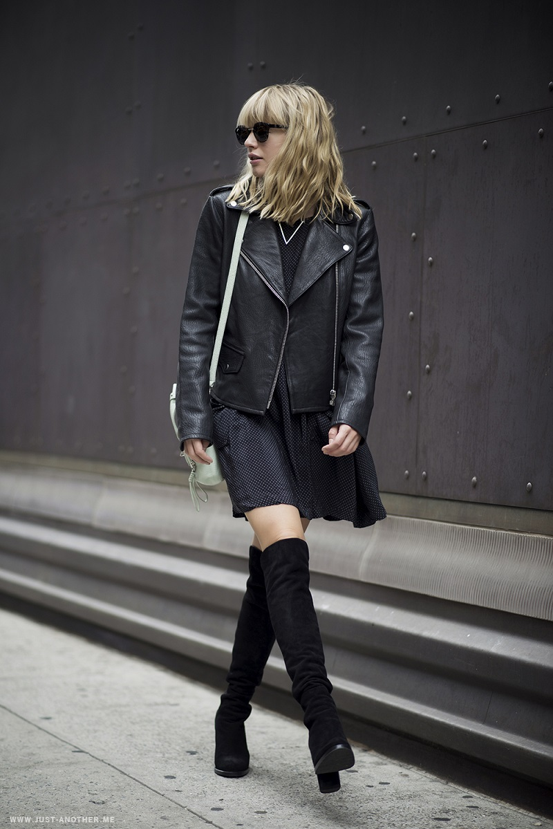 black leather jacket and thigh high boots