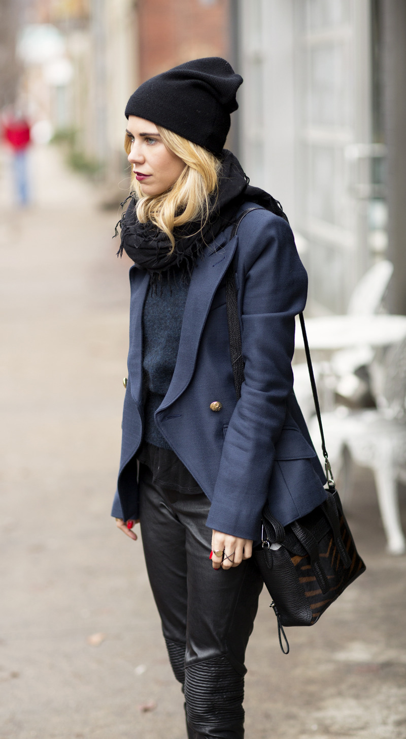 blazer navy black outfit idea fall